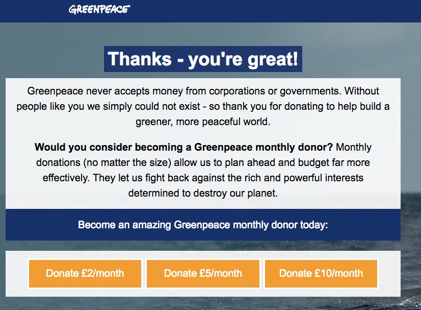 Direct Debit test by Greenpeace UK
