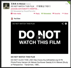 Ai Weiwei tweets about #IFoundTheLetter