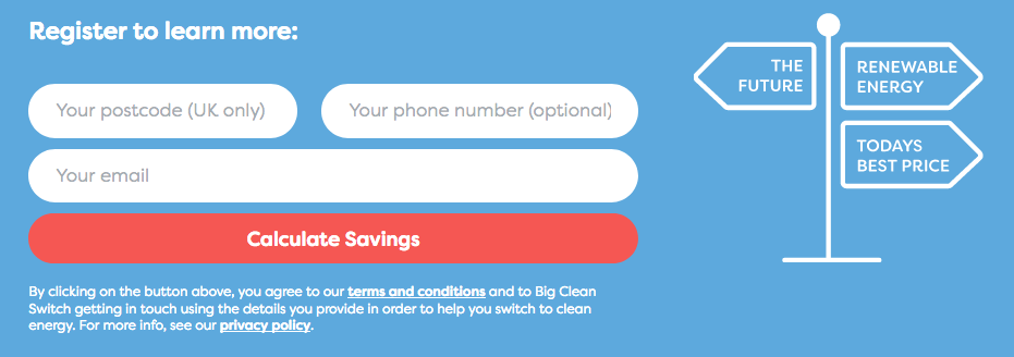 Big Clean Switch consumer form on website