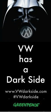 Image of Darth Vader mask and VW logo from VW Dark Side campaign