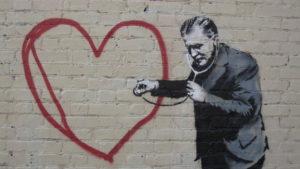 Street art by Banksy in San Francisco.