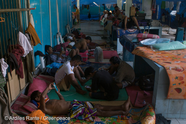 Burmese fishermen being held in Indonesia.