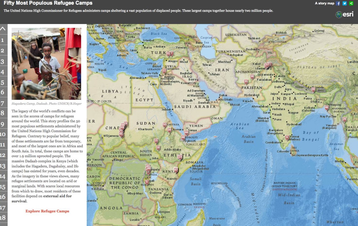 Refugee camps in the world | ESRI
